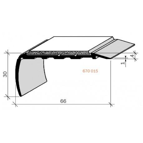 Nez de marches à Bandes Antidérapantes Aluminium, filé brut Aderoband 65 S 670015
