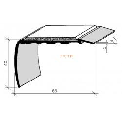 Nez de marches à bandes antidérapantes aluminium, filé brut aderoband 65 S 670025