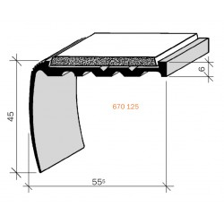 Nez de marches à bandes antidérapantes aluminium, filé brut aderoband 65 S 670125