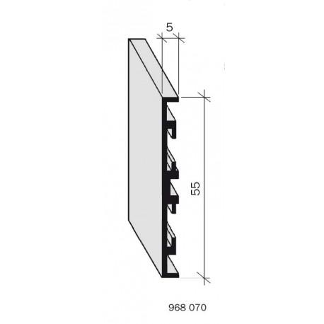 Plinthe aluminium filé, anodisé incolore 968070